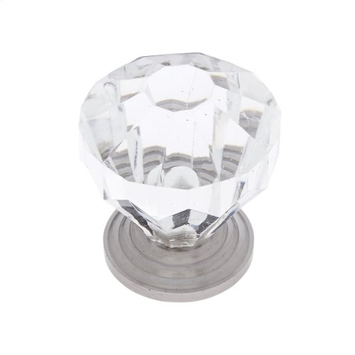 "Satin Nickel 1-1/4"" Acrylic ""Crystal"" Knob"