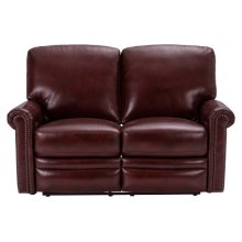 Grant Leather Power Reclining Loveseat in Deep Merlot Red
