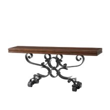 Antiqued Iron Scrolls Console Table