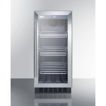 "15"" wide commercial glass door beverage cooler for built-in or freestanding use, with digital controls and LED light"