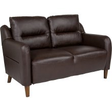 Newton Hill Upholstered Bustle Back Loveseat in Brown Leather