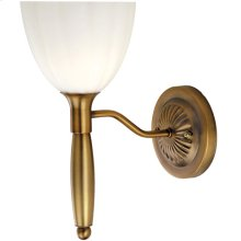 Wall Lamp, Bronze W/white Glass, 60w/b Type
