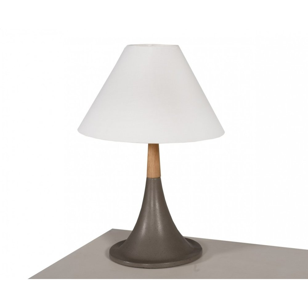 Modrest Nunez Modern Concrete & Oak Table Lamp