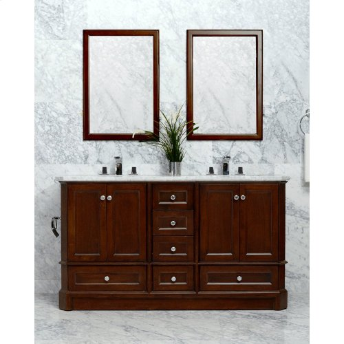 Ocean Grey RICHMOND 60-in Double-Basin Vanity Cabinet with Crema Marble Stone Top and Muse 18x12 Sink