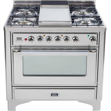 Stainless Steel with Chrome trim - Majestic 36-inch Range with 6-Burner