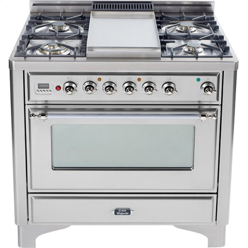 Stainless Steel with Chrome trim - Majestic 36-inch Range with Griddle