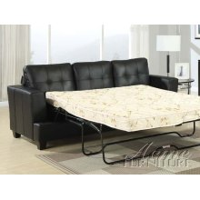 Diamond Black Bonded Leather Sofa w/Queen Sleeper Set