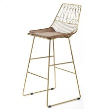 LEIGHTON BAR STOOL  Brass Finish on Metal with Brown Velvet Seat