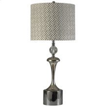 Black Nickel and Chrome  Transitional Steel Table Lamp  150W  3-Way  Hardback Designer Shade