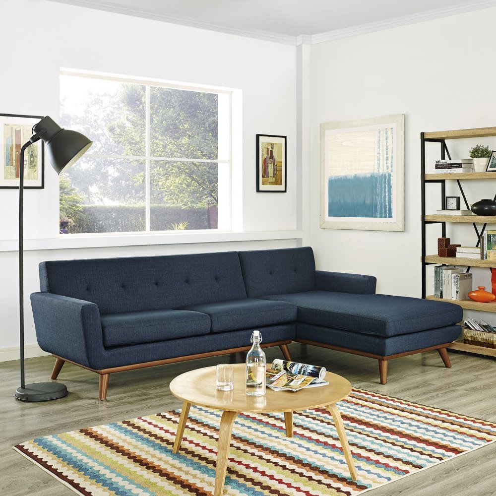 Engage Right-Facing Sectional Sofa in Azure