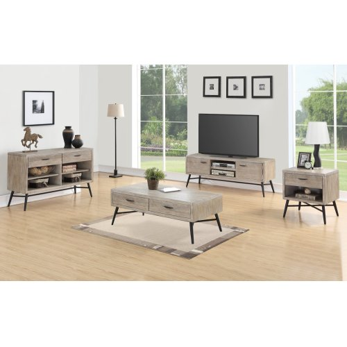 Emerald Home Nova Entertainment TV Console Wood W/2 Doors Sterling Gray Finish With Black Metal Legs E700-01