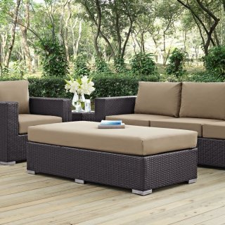 Convene Outdoor Patio Fabric Rectangle Ottoman in Espresso Mocha