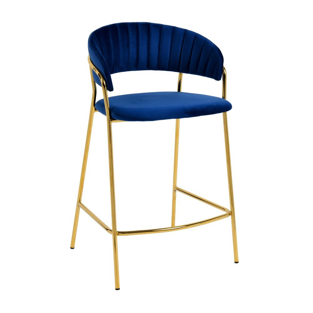 Padma Navy Velvet Counter Stool (Set of 2)