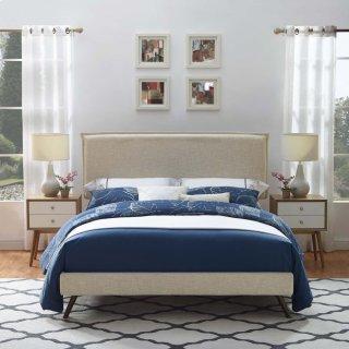 Amaris King Fabric Platform Bed with Round Splayed Legs in Beige