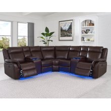 "Levin Power Left Arm Loveseat LED Strip Cocoa 68""x36""x40"""