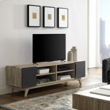 "Tread 70"" Media Console TV Stand in Natural Gray"