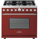 Range DECO 36'' Classic Red matte, Chrome 6 gas, electric oven, self-clean Product Image