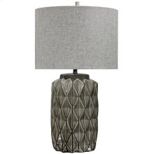 ALTON TABLE LAMP  Gray Finish on Ceramic Body  Hardback Shade  150 Watt