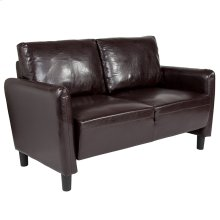 Candler Park Upholstered Loveseat in Brown Leather