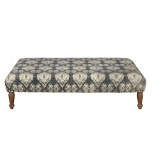 Rectangular Upholstered Ottoman in Shibori Grey Pattern