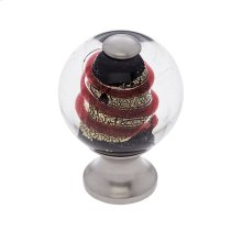 Satin Nickel 30 mm Clear Knob w/Red