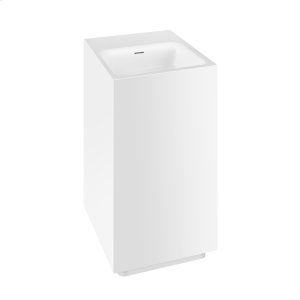 """Freestanding washbasin in Cristalplant® with overflow waste Matte white L 16-9/16"""" x W 16-9/16"""" x H 35-7/16"""" May be drilled on-site to fit single or 3 hole faucet Wall drainage Grille-plug and syphon included CSA certified Please contact Gessi North America for freight terms Product Image"""