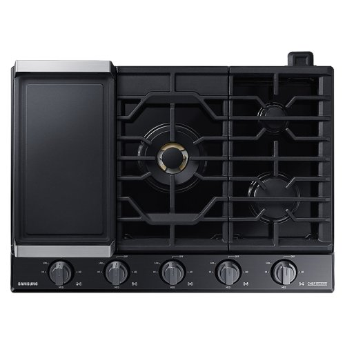 """30"""" Chef Collection Gas Cooktop with 22K BTU Dual Power Burner in Matte Black Stainless Steel"""