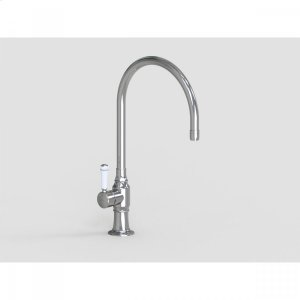 """Brushed Stainless - 10"""" Deck Mount Single Hole Swivel Bar Faucet Spout with Left White Ceramic Contemporary Lever Product Image"""