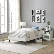 Loryn Twin Vinyl Bed Frame with Round Splayed Legs in White
