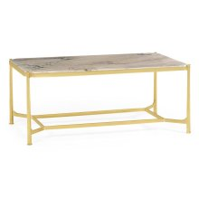 Blanco Equador marble & polished solid brass rectangular coffee table