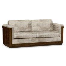86'' Antique Mahogany Brown High Lustre Sofa, Upholstered in Calico Velvet