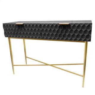 Reggie Geometric Console Table 2 Drawers Gold Legs, Glossy Black