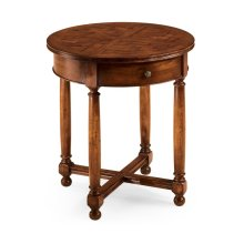 Round parquet topped side table