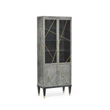 Casual Transitional Dark French Oak Display Cabinet