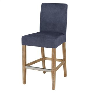 Hartford Fabric Counter Stool Brushed Smoke Legs, Denim Slate