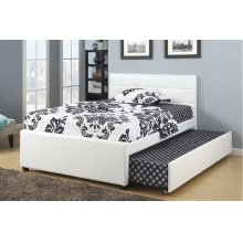 White Twin Size Frame with Twin Size Trundle
