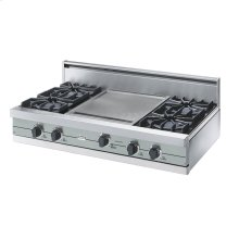 "Sea Glass 42"" Open Burner Rangetop - VGRT (42"" wide, four burners 18"" wide griddle/simmer plate)"