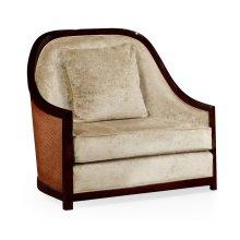 """44"""" Sonokelling & Brown Rattan Sofa Chair, Upholstered in Calico Velvet"""