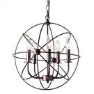 Baxton Studio Nerea Vintage Industrial Dark Bronze Metal 5-Light Orb Cage Chandelier Product Image