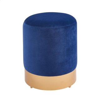 Coco Velvet Fabric Round Ottoman, Serene Dark Blue/Gold