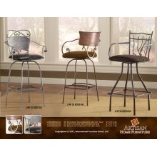 """24"""" or 30 Swivel Hand Forged Barstool Armless w/Microfiber Seat"""