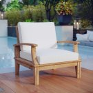 Marina Outdoor Patio Teak Armchair in Natural White Product Image