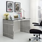 Gridiron Stainless Steel Office Desk in Silver Product Image