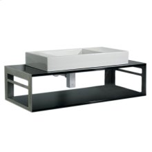Aeri counter top and shelf unit in laminated black, polished stainless steel supports with integral towel rails, and a rectangular above mount white porcelain basin. Set includes drain and trap in polished chrome.