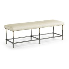 Hamilton Dark Gun Metal Bench, Upholstered in Castaway