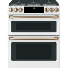 "Café 30"" Smart Slide-In, Front-Control, Gas Double-Oven Range with Convection"