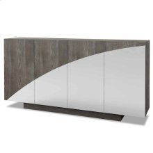MONCRIEF SIDEBOARD  Washed Gray Finish on Hardwood with Beveled Mirror  4 Door