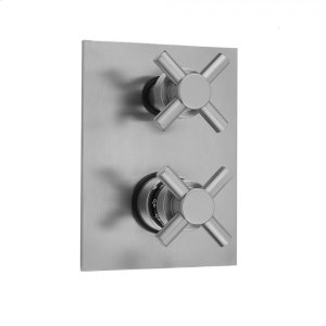 Antique Brass - Rectangle Plate with Contempo Cross Thermostatic Valve with Contempo Cross Built-in 2-Way Or 3-Way Diverter/Volume Controls (J-TH34-686 / J-TH34-687 / J-TH34-688 / J-TH34-689) Product Image