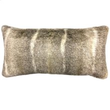 AZTEC BOLSTER PILLOW - TAUPE CREAM  Faux Fur  Down Feather Insert