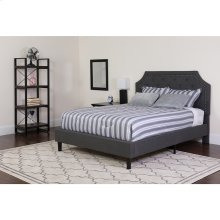 Brighton Twin Size Tufted Upholstered Platform Bed in Dark Gray Fabric